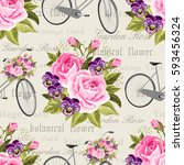 seamless floral pattern with... | Shutterstock .eps vector #593456324