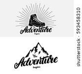 set of the adventure begins... | Shutterstock .eps vector #593458310