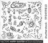 happy easter. set of hand drawn ... | Shutterstock .eps vector #593459810
