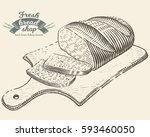 hand drawn bread bakery in... | Shutterstock .eps vector #593460050