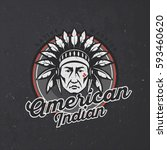 indian head logo on dark grunge ... | Shutterstock .eps vector #593460620