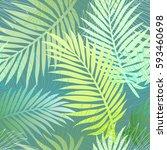 palm leaves illustration... | Shutterstock . vector #593460698