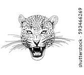 leopard face tattoo  vector... | Shutterstock .eps vector #593466269