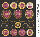 golden badges and labels with... | Shutterstock .eps vector #593472164