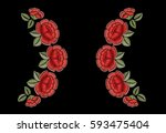 red roses and green leaves.... | Shutterstock .eps vector #593475404