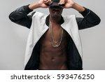 black afroamerican rebellious...   Shutterstock . vector #593476250