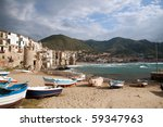 Small photo of Beach and waterfront of Cefalu in Cicily, Italy
