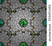 damask seamless pattern for... | Shutterstock .eps vector #593491490