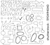 set of hand drawn graphic signs ... | Shutterstock .eps vector #593494040