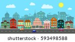 city street. flat style. set of ... | Shutterstock .eps vector #593498588