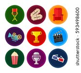 vector flat movie elements with ... | Shutterstock .eps vector #593498600