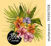 vector vintage floral tropical... | Shutterstock .eps vector #593507528