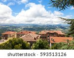 view on the red roofs of houses ... | Shutterstock . vector #593513126