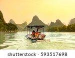 Tourists Cruising Li River In...