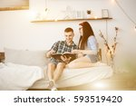 young couple in love talking on ... | Shutterstock . vector #593519420