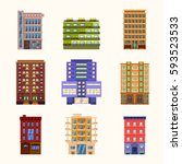 set of vector buildings and... | Shutterstock .eps vector #593523533