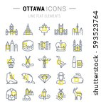 set  line icons in flat design... | Shutterstock . vector #593523764