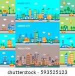 smart city  green city ... | Shutterstock .eps vector #593525123