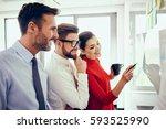 business people brainstorming... | Shutterstock . vector #593525990