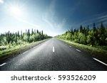 road in forest  sweden | Shutterstock . vector #593526209