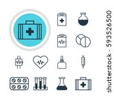 illustration of 12 health icons.... | Shutterstock . vector #593526500