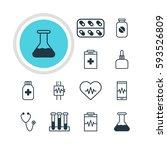 illustration of 12 health icons.... | Shutterstock . vector #593526809