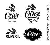 set of olive oil hand written... | Shutterstock .eps vector #593533874