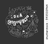 be creative with kids. doodle... | Shutterstock .eps vector #593533964