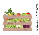 wooden crate of farm fresh... | Shutterstock .eps vector #593534768