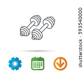 dumbbell icon. fitness sport or ... | Shutterstock .eps vector #593540000