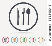 fork  knife and spoon icons.... | Shutterstock .eps vector #593540048