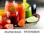 glasses with fresh organic...   Shutterstock . vector #593540834