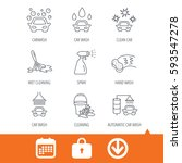 car wash icons. automatic... | Shutterstock .eps vector #593547278