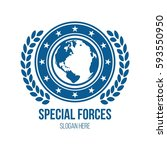 military globe and shield theme ... | Shutterstock .eps vector #593550950