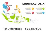 southeast asia map infographic. ... | Shutterstock .eps vector #593557508