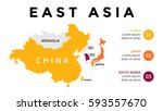east asia map infographic.... | Shutterstock .eps vector #593557670