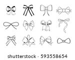 set of bow design elements for... | Shutterstock .eps vector #593558654