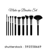 makeup brushes kit. hand drawn... | Shutterstock .eps vector #593558669