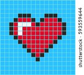 mosaic heart old video game... | Shutterstock .eps vector #593559644