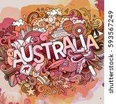 australia country hand... | Shutterstock .eps vector #593567249