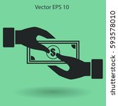 transfer money from hand to... | Shutterstock .eps vector #593578010