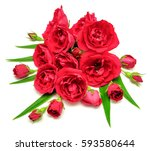 bouquet of red roses closeup... | Shutterstock . vector #593580644
