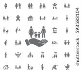 family and hands vector icon on ... | Shutterstock .eps vector #593583104