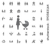 mother with baby carriage...   Shutterstock .eps vector #593583164
