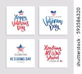 set of cards to veterans day.... | Shutterstock .eps vector #593586320