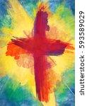 cross of bloody red on bursting ... | Shutterstock . vector #593589029