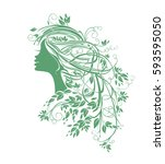 girl with leafy hair. natural... | Shutterstock .eps vector #593595050