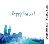 happy easter bunny abstraction. ... | Shutterstock .eps vector #593595608
