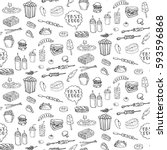seamless pattern hand drawn... | Shutterstock .eps vector #593596868