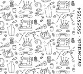 seamless pattern hand drawn... | Shutterstock .eps vector #593597054